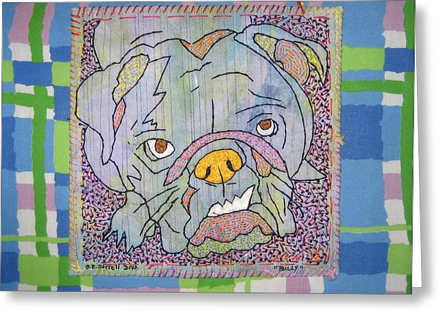 Dog Tapestries - Textiles Greeting Cards - Bully Greeting Card by Susan Sorrell