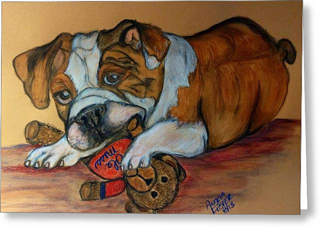 Mascots Drawings Greeting Cards - Bullys Teddy Bear Greeting Card by Angela Foster