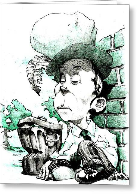 Mad Hatter Greeting Cards - Bum Greeting Card by Libo Mahlati