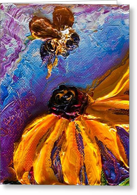 Bumble Bee And Yellow Flower II Greeting Card by Paris Wyatt Llanso