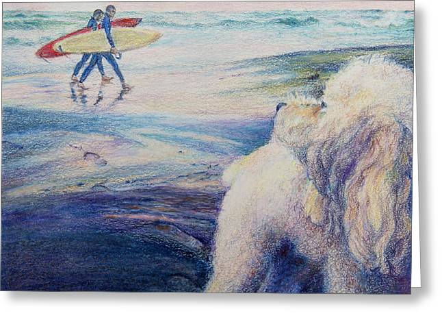 Footprints Drawings Greeting Cards - Bumble Bee at the Beach Greeting Card by Mary Knape