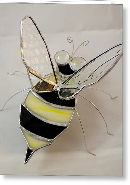 Bees Glass Art Greeting Cards - Bumble Bee by Michelle Lodge Greeting Card by Studio One Seventy Two