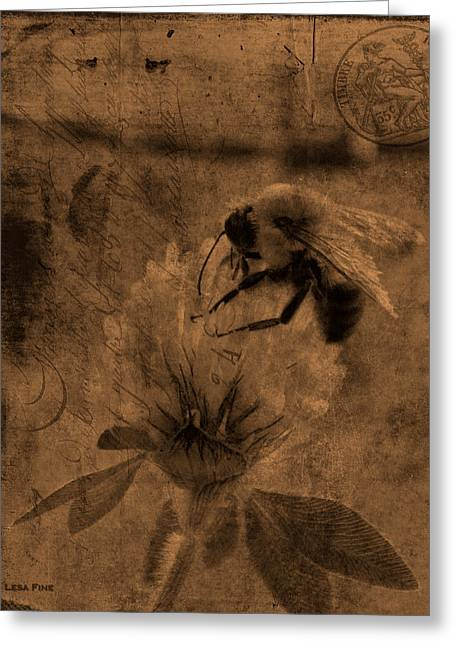 Huntsville Greeting Cards - Bumble Bee Post Card 2 Sepia Greeting Card by Lesa Fine