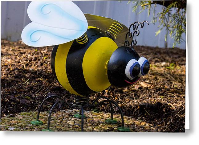 Moving Petals Greeting Cards - Bumble Bee Yard Art Greeting Card by Ron Roberts