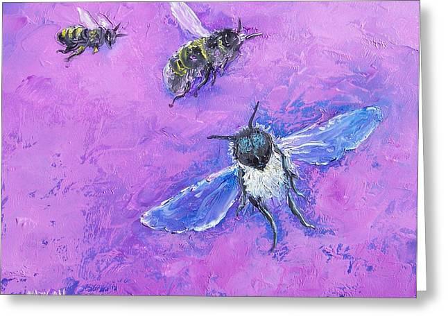 Animal Art Greeting Cards - Bumble Bees Greeting Card by Jan Matson
