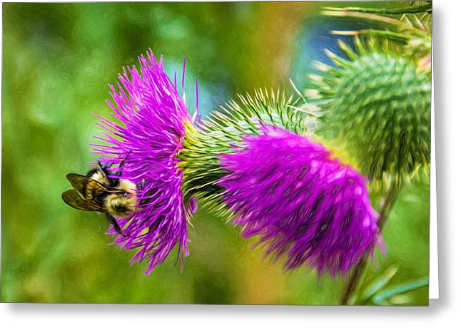 Edible Digital Art Greeting Cards - Bumbling in the Burdock - Paint Greeting Card by Steve Harrington