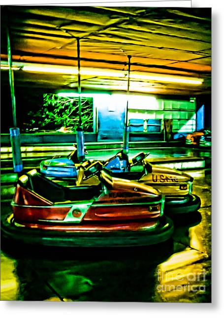 Night Scenes Greeting Cards - Bumper Cars Greeting Card by Colleen Kammerer