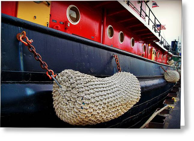 Fireboat Framed Prints Greeting Cards - Bumper Detail on The Big Red Tug Greeting Card by Carol Toepke