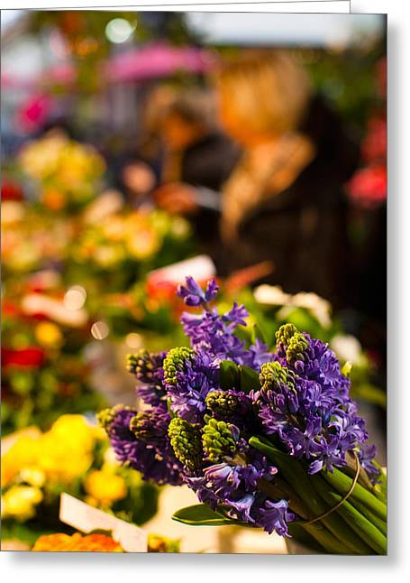 Sunlight On Flowers Greeting Cards - Bunch Of Flowers At A Flower Shop, Rue Greeting Card by Panoramic Images