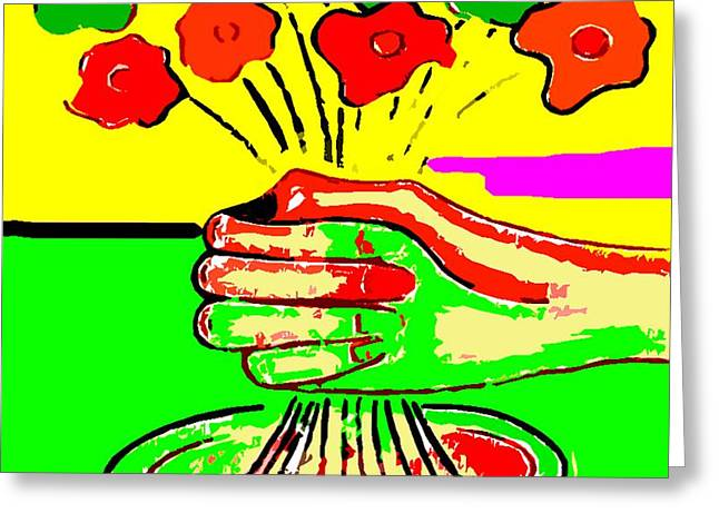 Abstract Vase Flower Print Greeting Cards - Bunch Of Flowers Greeting Card by Patrick J Murphy