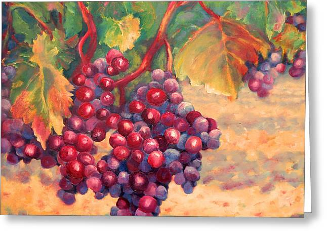Red Wine Prints Greeting Cards - Bunch of Grapes Greeting Card by Carolyn Jarvis