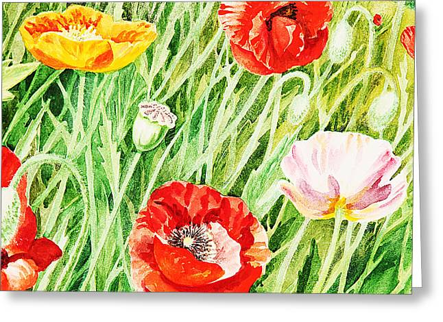 Poppies Field Paintings Greeting Cards - Bunch Of Poppies I Greeting Card by Irina Sztukowski