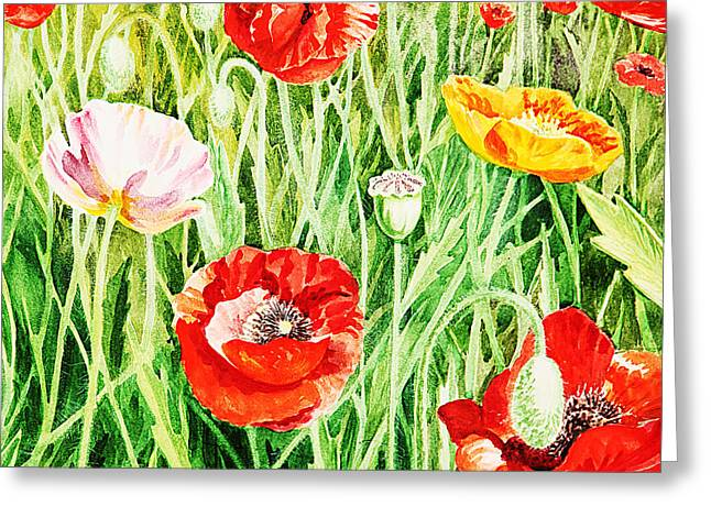 Poppies Field Paintings Greeting Cards - Bunch Of Poppies II Greeting Card by Irina Sztukowski