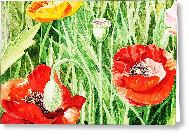 Poppies Field Paintings Greeting Cards - Bunch Of Poppies III Greeting Card by Irina Sztukowski