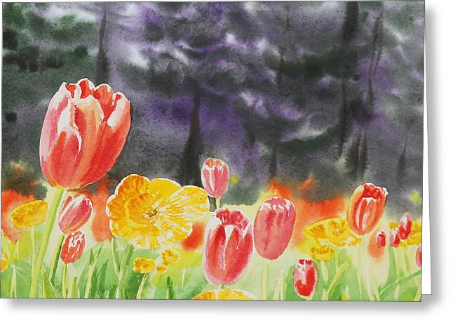 Golden Gate Paintings Greeting Cards - Bunch Of Tulips I Greeting Card by Irina Sztukowski