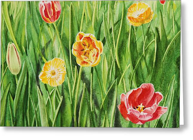 Bunch Of Tulips II Greeting Card by Irina Sztukowski