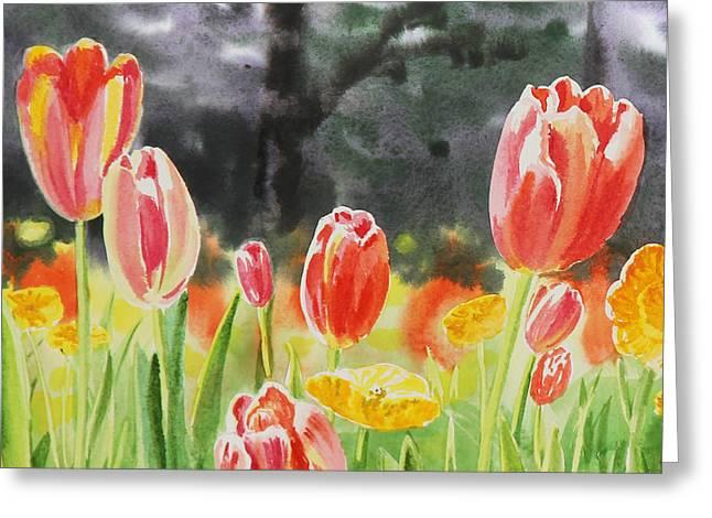 Bunch Of Tulips IIi Greeting Card by Irina Sztukowski
