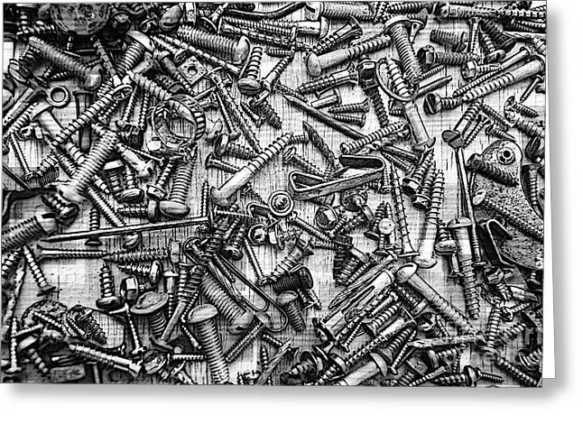 Component Greeting Cards - Bunch Screws 2 - Digital effect Greeting Card by Debbie Portwood