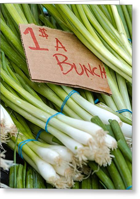 Locally Grown Greeting Cards - Bunches of Onions Greeting Card by Teri Virbickis