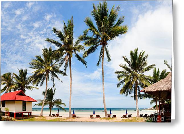 Koh Samui Greeting Cards - Bungalow on paradise island Greeting Card by Fototrav Print