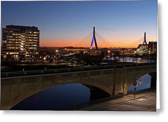 Charles River Greeting Cards - Bunker Hill Bridge and Education First Headquarter Greeting Card by Juergen Roth