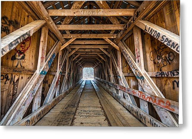 Bunker Hill Greeting Cards - Bunker Hill Covered Bridge 2 Greeting Card by Randy Scherkenbach