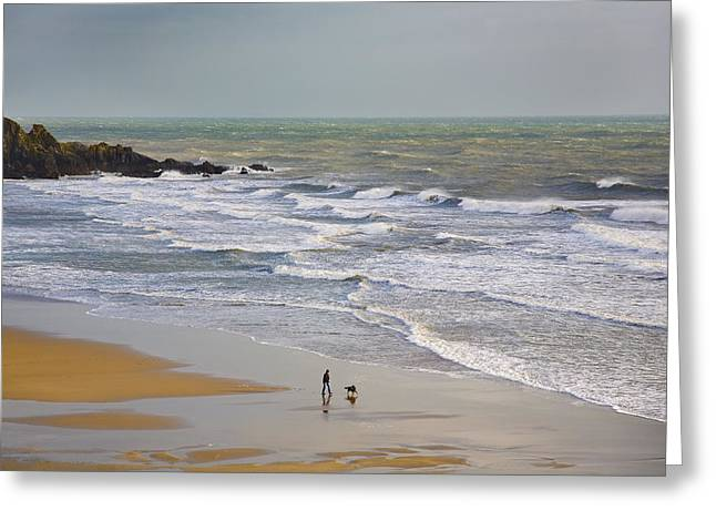 Pet Photography Greeting Cards - Bunmahon Strand, The Copper Coast Greeting Card by Panoramic Images
