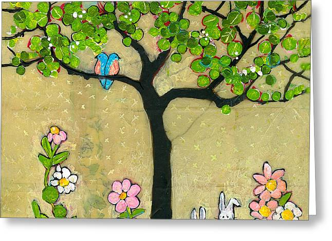 Kids Room Art Greeting Cards - Bunnies and Birds Tree Greeting Card by Blenda Studio