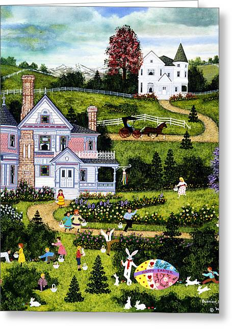 Balloon Flower Paintings Greeting Cards - Bunnies Eggs And Jellybeans Greeting Card by Jane Wooster Scott