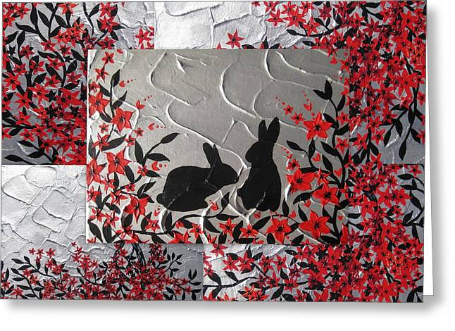 Catherine Mixed Media Greeting Cards - Bunnies in blossom Greeting Card by Cathy Jacobs