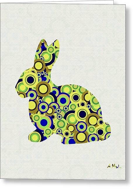 Cute Mixed Media Greeting Cards - Bunny - Animal Art Greeting Card by Anastasiya Malakhova