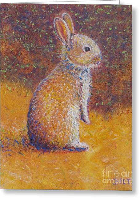 Rabbit Pastels Greeting Cards - Bunny at Snickerhaus Garden Greeting Card by Christine Belt