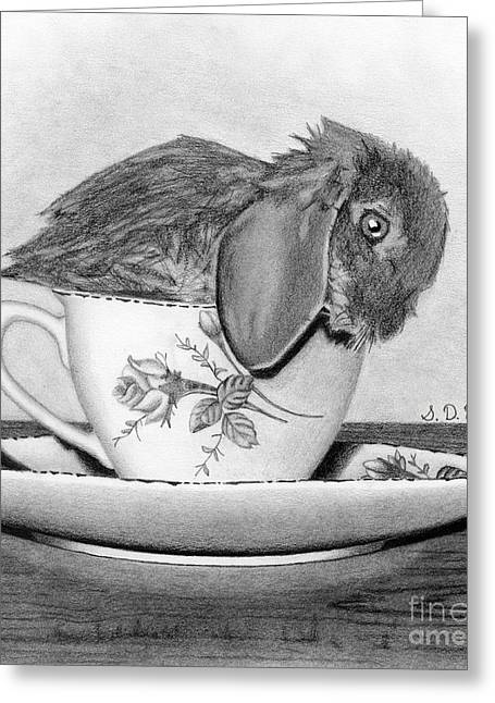 Hand Drawn Drawings Greeting Cards - Bunny In A Tea Cup Greeting Card by Sarah Batalka