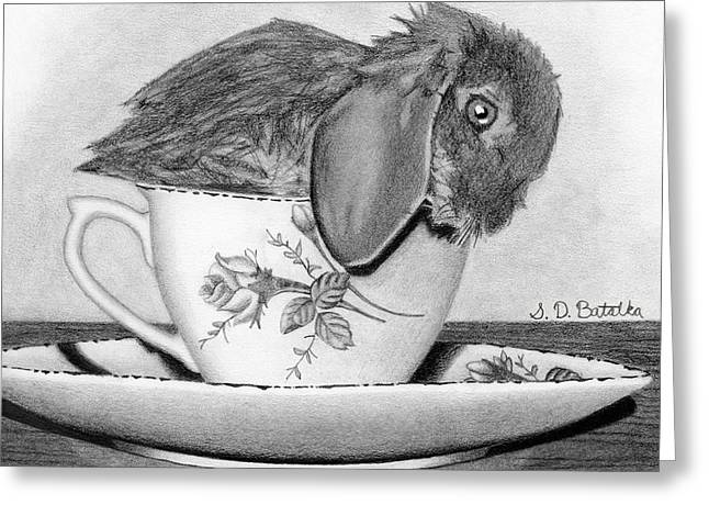 Bunny In A Tea Cup Greeting Card by Sarah Batalka