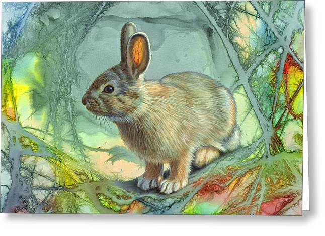 Tails Paintings Greeting Cards - Bunny in Abstract Greeting Card by Paul Krapf