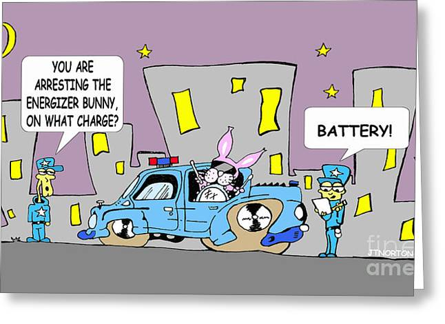 Funny Police Comic Greeting Cards - Bunny Greeting Card by Jack Norton