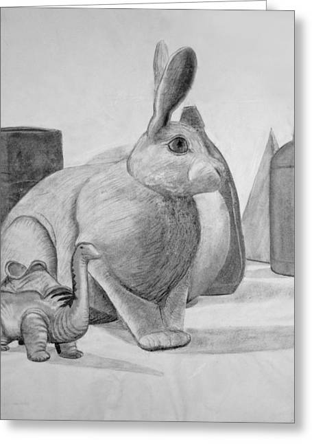Drawing Poster Greeting Cards - Bunny Greeting Card by Jose Valeriano