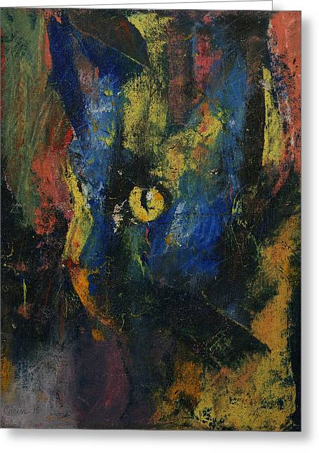 Blue Cat Greeting Card by Michael Creese