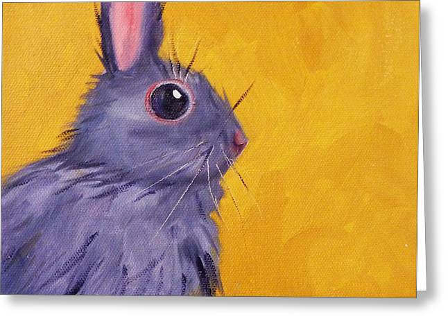 Rectangles Greeting Cards - Bunny Greeting Card by Nancy Merkle
