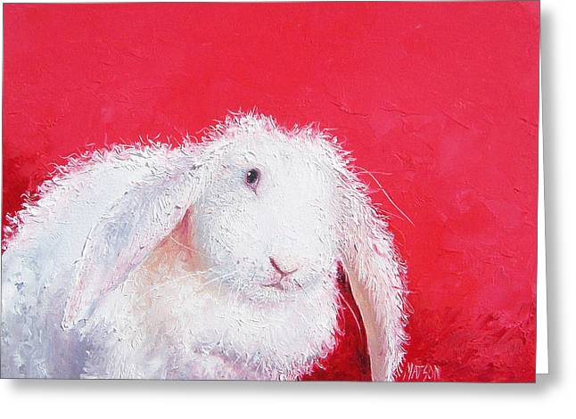 Lop Greeting Cards - Bunny painting Lucinda by Jan Matson Greeting Card by Jan Matson