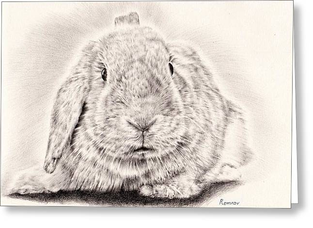 Rabbit Drawings Greeting Cards - Bunny portrait 1 Greeting Card by Heidi Vormer
