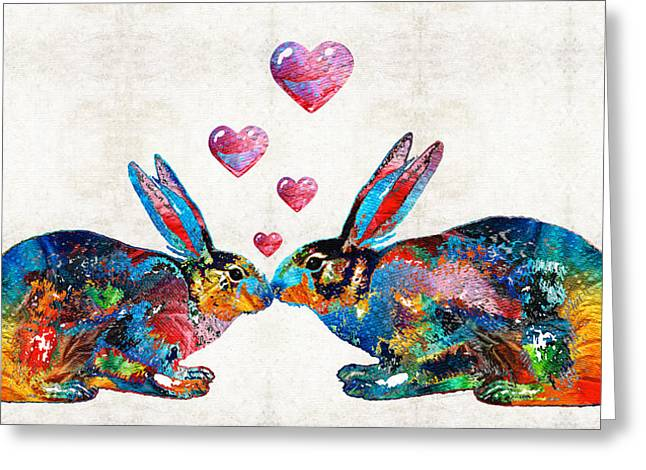 Sweet Kiss Greeting Cards - Bunny Rabbit Art - Hopped Up On Love - By Sharon Cummings Greeting Card by Sharon Cummings