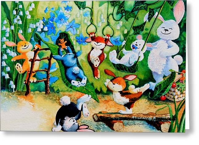 Easter Pictures Greeting Cards - Bunny Tricks Greeting Card by Hanne Lore Koehler