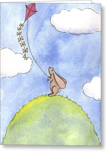 Kids Room Art Greeting Cards - Bunny with a Kite Greeting Card by Christy Beckwith