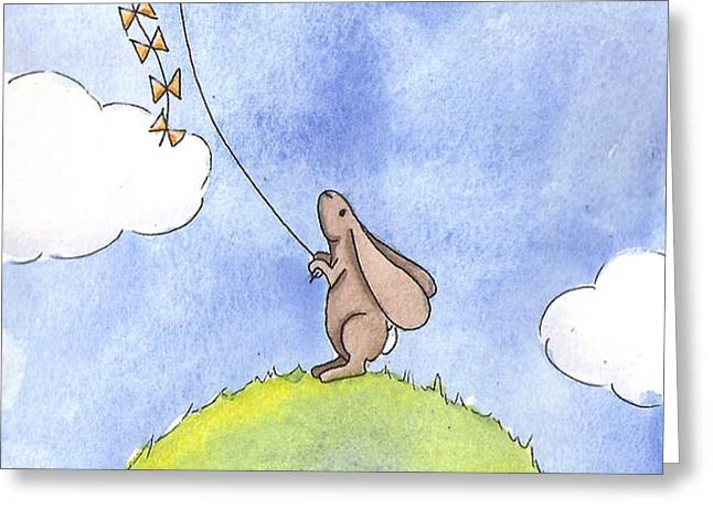 Bunny with a Kite Greeting Card by Christy Beckwith