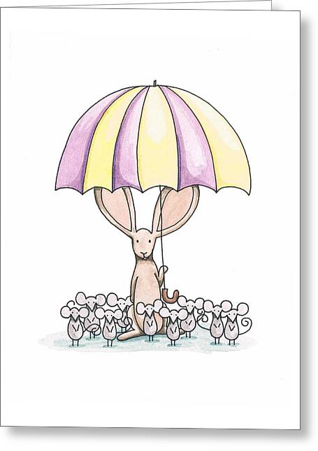 Umbrella Drawings Greeting Cards - Bunny with Umbrella Greeting Card by Christy Beckwith