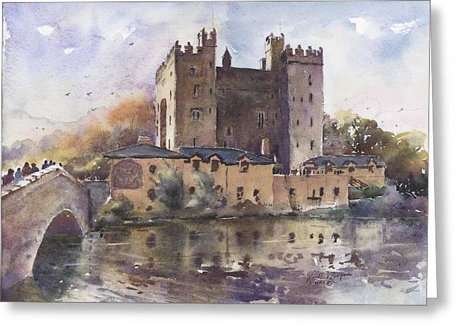 print Paintings Greeting Cards - Bunratty Castle Reflections County Clare Greeting Card by Keith W Thompson