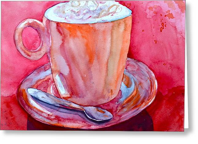 Coffee Drinking Paintings Greeting Cards - Buon Appetito Greeting Card by Beverley Harper Tinsley