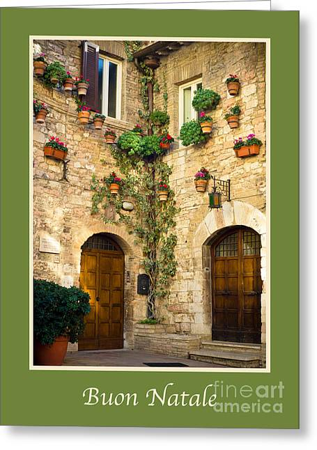 Buon Greeting Cards - Buon Natale with a Corner of Assisi Greeting Card by Prints of Italy