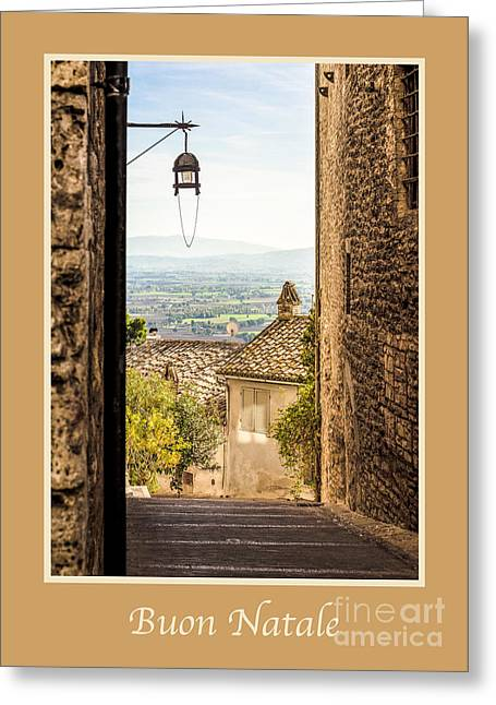 Buon Greeting Cards - Buon Natale with Valley Outside Assisi Greeting Card by Prints of Italy